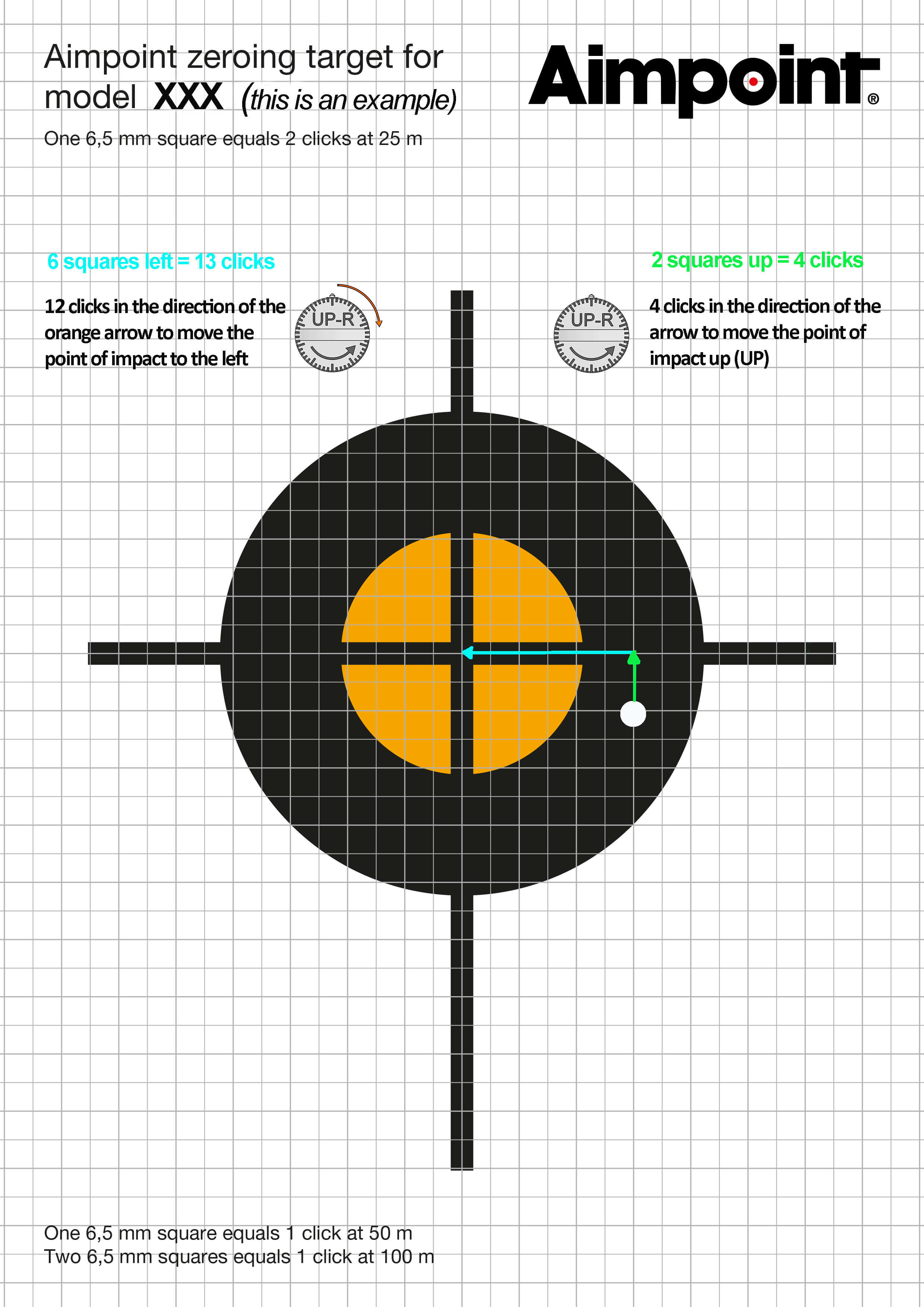 Shooting target with result